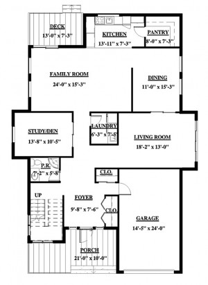 Black and white floor plan rendering